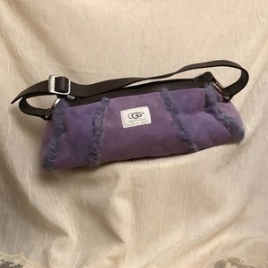 Purple Ugg fur lined and trim handbag
